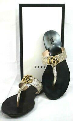 Gucci Women's Marmont GG Logo Leather Thong Sandal Size 37.5 Gold MSRP $495