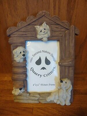 "2001 Second Nature Design, Quarry Critters Picture Frame 4"" x 6"" - Cat and Dogs"