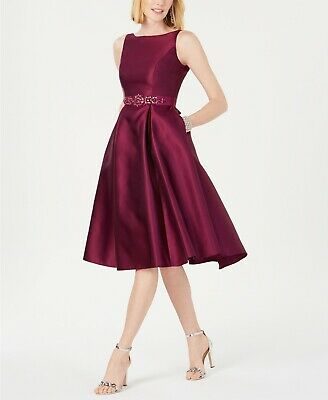 Adrianna Papell Petite Belted Mikado Satin Dress MSRP $199 Size 6P # 21A 54 NEW