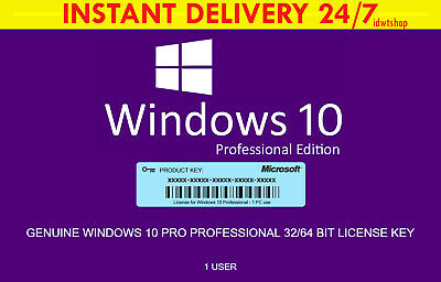 WINDOWS 10 PRO genuine key 32 64bit code license edition upgrade home - INSTANT