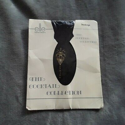 "BNIP Elle Hoisery ""The Cocktail Collection"" Art Deco Style Black Stockings S M"