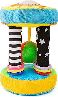 Small Foot 11421 Plush Cylinder, Baby Ball Rattle, Learning Toy, Multicoloured,