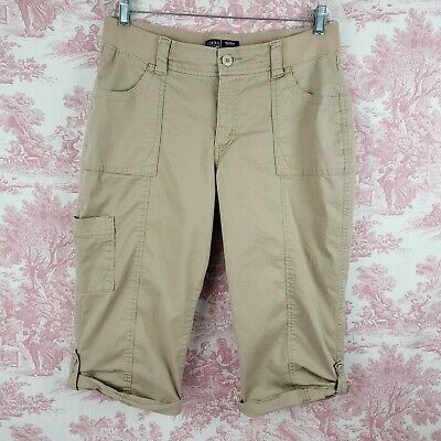 Lee Riders Mid Rise Skimmer Size 12 M Button Tab Hem Capri Cropped Pants Brown