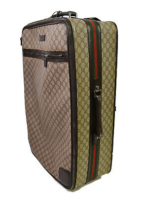 Gucci GG Supreme Web Rolling Suitcase Canvas Monogram Luggage Brown