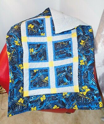 Handmade Patchwork Nascar #24 Blue Yellow Baby Quilt Cotton Blanket