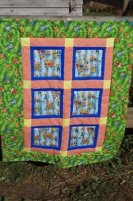 Handmade Patchwork Unisex Teddy Bear Playing Baby Quilt Cotton Blanket