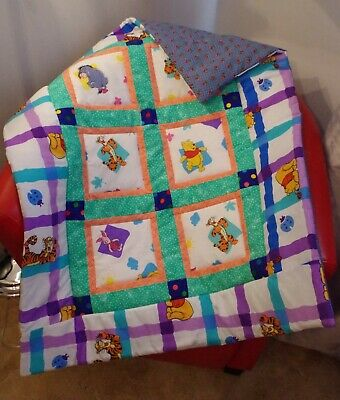 Handmade Patchwork Winnie the Pooh Baby Quilt Poly/Cotton Blanket