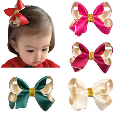 Big Bow Baby Kid Hair Clips Chindren Polyester Ribbon Bownot Headwear For Baby