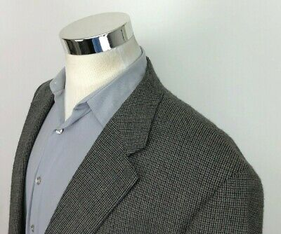 Chaps Ralph Lauren Mens 46L Gray Blue Nailshead 2 Button Blazer Wool Sport Coat