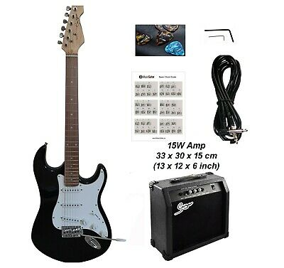 Electric Guitar with 15W amp ST Style full size for beginners Black iMEG281