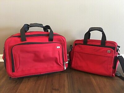 Victorinox Red Nylon Expandable Duffle Backpack Carry-On Travel Bag + Duffle Set