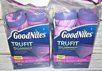 2 Girls GoodNites Tru-Fit Real Underwear Nighttime Protection Starter Packs S/M