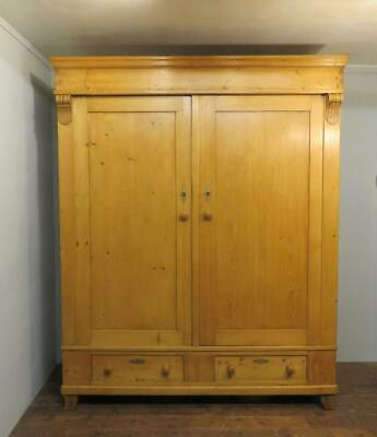 Antique Pine Wardrobe / Two Drawers / Knock Down / Clean / Ready To Use