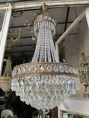 "Antique French Gigantic Bohemia Crystal Chandelier Ceiling Lamp 1940's 19"" Dmtr"