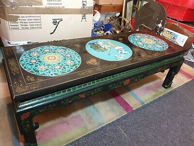 Early to Mid 20th Century Chinese Black Lacquered & Cloisonne Coffee Table .
