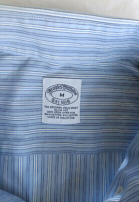 BROOKS BROTHERS Slim Fit, Non Iron Stretch Cotton/Elastane Shirt in Blue, Mens M
