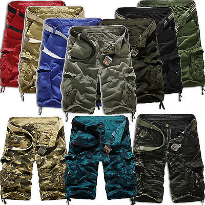 Mens Camo Cargo Shorts Military Army Tactical Combat Casual Half Pants Trousers