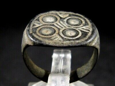 Outstanding Byzantine Period Bronze Ring, Probably Gambler's Ring+++