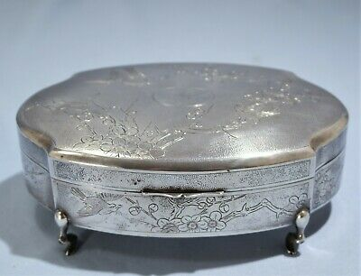 Chinese Export Sterling Silver Hand Chased Footed Box by Pao Sing Shanghai