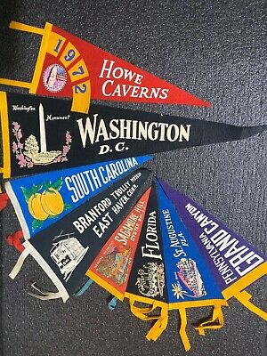 Vintage Souvenir Travel Felt Pennants - States & Places Pennant Lot Of 8