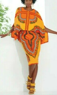 Ashro Gold Orange Ethnic African American Pride Sabra Cape Dress Size 14 NEW