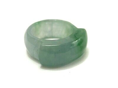 Genuine Natural Chinese Jade Carved Eternity Simplicity Saddle Ring Size 9