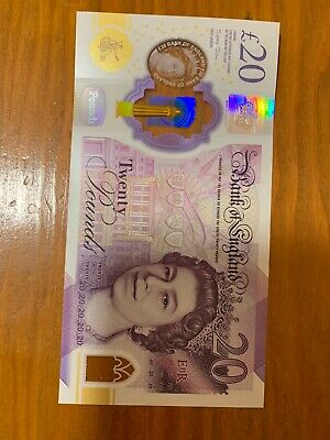 England 20 Pounds 2020 Series. 20 UNC Polymer Banknote. 20 Pound Banknotes.
