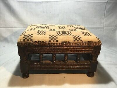 Vintage Small Rectangular Footstool~Oak Turned Supports~Foot Stool
