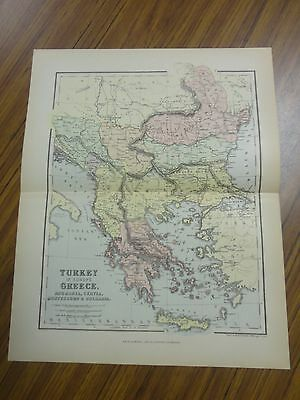 Nice color map of Turkey & Greece. Printed 1892 by Chambers