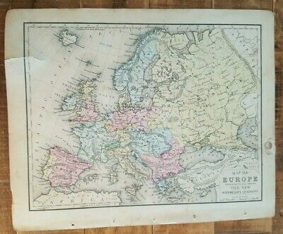 Antique Colored MAP OF EUROPE - 1872 Mitchell's New Interm. Geography