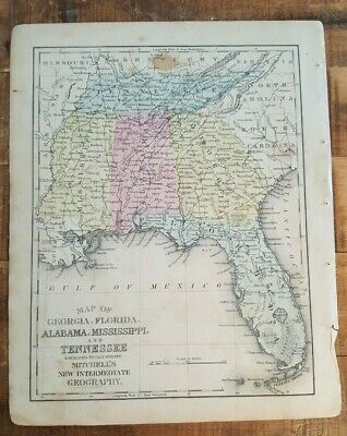 Antique Colored MAP- GEORGIA, FLORIDA, AL, MS, TN 1872 Mitchell's New Geography