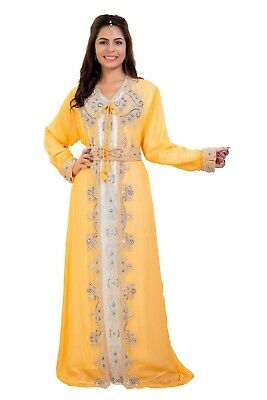 Hand Embroidered Wedding Aztec Gown Tunisian Cultural Walima Dress Maxi 7904