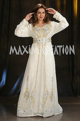 Haute Coutre Jellebiya Hand Embroidered Arabic Princess Henna Party Gown 4375