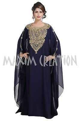 Maghribi Kaftan Hand Embroidered Crystal Luxe Christian Cocktail Maxi Gown 6342