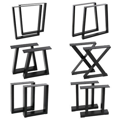 Pair Industrial Table Legs Cabinet Bench Steel Frame Trapezoid Square Geometrics