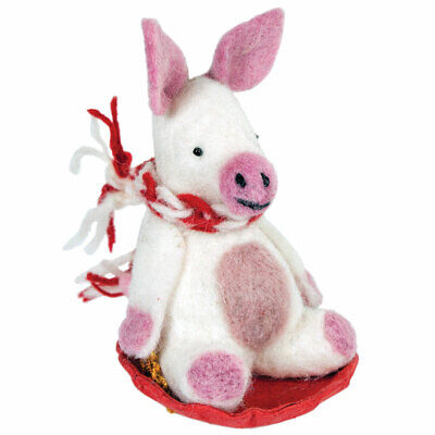 """Needle Felted Pink /""""Irvie the Pig/"""" Ornament"""