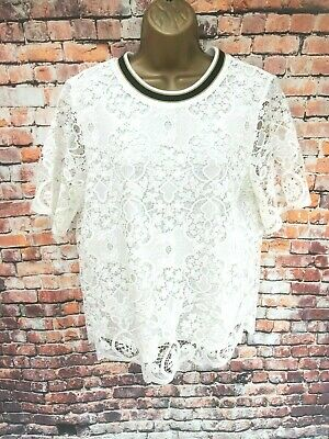 Marks & Spencer M&S Autograph Top White Mix Lace Overlay Lined UK 14