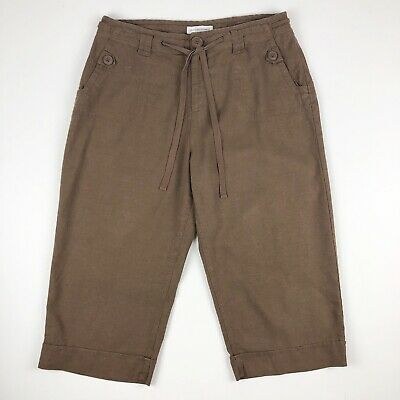 Christopher & Banks Capri Pants Womens Size 12 Linen Blend Brown Cropped Belted