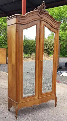 French Armoire Bookcase Wardrobe Cupboard Walnut Wood Wooden 2 Mirrored Doors