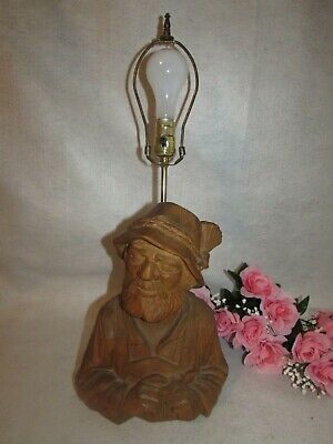 "Vtg German Hand Carved Wooden Old Man Figurine Statue Bust Table Lamp 24"" 3 Way"
