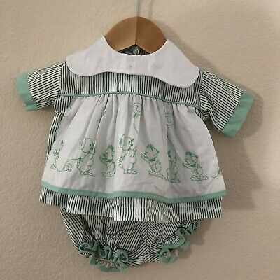 Vintage Pinstriped Green Embroidered Ducks Baby Dress Bloomers Unsized