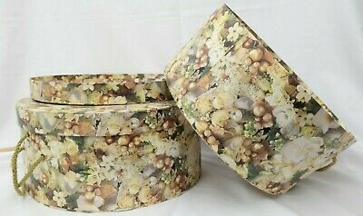 Round Floral Design Nesting Hat Boxes w/ Rope Handle Set of 2  MT