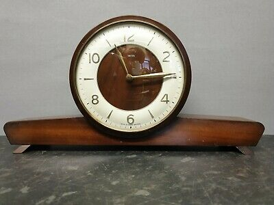 Vintage Smiths Wooden Cased 8 Day Mantle Clock with Strike