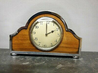 Vintage Wood and Chrome 8 Day Mantle Clock with Platform Escapement