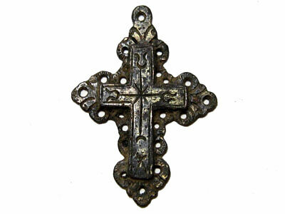 EOUTSTANDING ANTIQUE 1800s. SILVER PLATED CROSS PENDANT+++