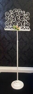 Ornate White iron Music Stand with Adjustable Height -  3155w