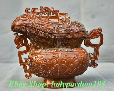 "8"" Marked Old Chinese Ox Horn Dynasty Carved Beast Oxhorn Drinking Cup"