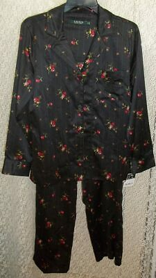 Ralph Lauren Small S Satin Pajama Set top/pants Long sleeve Black/Red Roses NWT