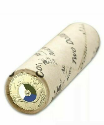 FREE POST-2020 $2 COLOURED COIN 75th ANNIVERSARY END WWII - OFFICIAL MINT ROLLS
