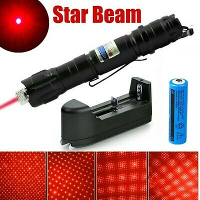 500Miles Strong Light Red Laser Pointer Pen Star Cap Bright Lazer+18650+Charger